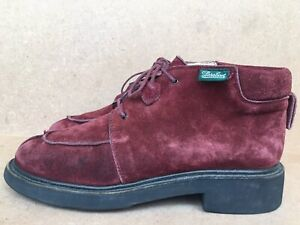 Paraboot France Suede maroon Ankle Mocs Sz 39 Chukka Lace Up Boots Dress Shoes
