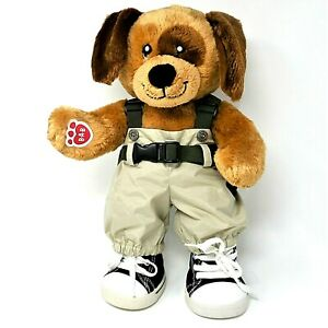 """BUILD A BEAR DOG TEDDY 16"""" PAW BADGE Trousers Trainers Brown Tan Cuddly VGC"""