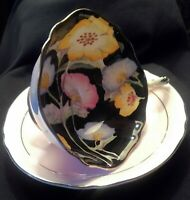 Paragon Double Warrant Cup & Saucer Pink & Black Floral Pattern England
