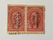USA $2 Overprints Stock Transfer Block 2 Perfin Old Stamps