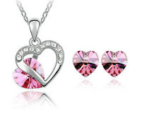 Color of Love Pink Heart Pendant and earrings set