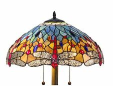 Blue Dragonfly Floor Lamp Tiffany Style Stained Glass Light Shade Bronze Finish