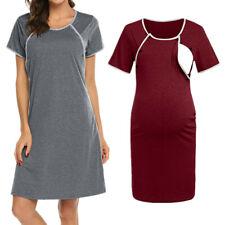 Maternity Women Pregnancy Nursing Button Nightdress Breastfeeding Shirt Dress UK