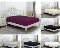 DEEP FITTED SHEET POLY COTTON BED MATTRESS COVER SINGLE DOUBLE SUPER KING SIZE