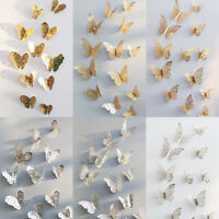 12Pcs Paper 3D Flying Butterfly Wall Stickers Decoration Home Living Room Decals