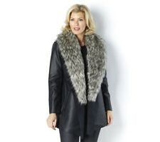 Dennis Basso Faux Leather Jacket with Faux Fur Collar Size XL RRP £164 Box4751 A