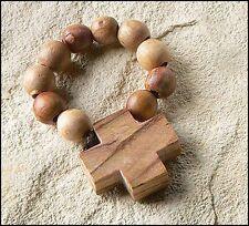 Mens Women Olive Wood Prayer Finger Rosary Ring Made in Bethlehem NEW JC798