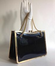 Freedex Vintage 1970s Handbag Black Patent Leather Chain Handles Fabric Lining