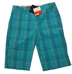 "Puma Golf Ladies 11"" Tech Plaid Golf Shorts - Blue Radiance - RRP£50 - ALL SIZES"