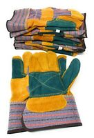 6 Pair Double Palm Leather Work Gloves Size Large