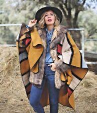 ZARA Colourful Striped Blanket Cape Jacket Coat M One Size 8 10 12 14 16 BNWT