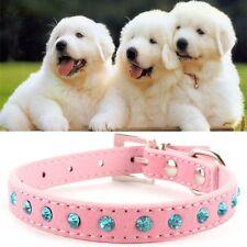 PET PUPPY DOG COLLAR Lead Rhinestone Small Safety Costume Leash Strap Pink