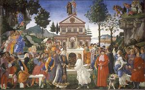 Sandro Botticelli - Tentaciones de Cristo Vintage Fine Art Print