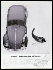1961 VW Beetle classic car with damaged fender photo Volkswagen 13x10 print ad