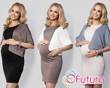 Ladies Maternity Two Colours Mini Dress Batwing Crew Neck Plus Sizes 8-18 FM12