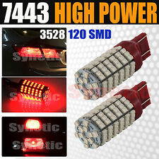 2x 7443 7444 7440 120 SMD Chip Red Brake Tail Stop Dual Filament LED Light Bulbs