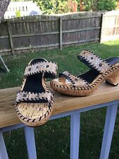 Sonora Cork Heel Sandals Slides Shoes Embossed Leather Women's Size 7.5 M