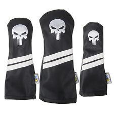 Punisher Skull Sunfish leather golf headcover set - DR, FW, HB BLACK !