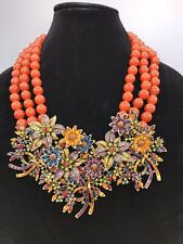 Heidi Daus Swarowski Crystal Floral Necklace Signed Costume Jewelry 3D