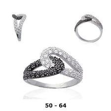 Bague Rhodié T52 Pavé Diamant Cz Black White Argent Massif 925 Dolly-Bijoux