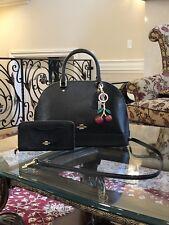 Coach F31352 Sierra Satchel Patent Crossgrain Leather Handbag Black