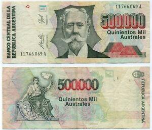 ARGENTINA NOTE 500000 AUSTRALES (1990) FRAGA-DI IORIO SUFFIX A B# 2899 P 338