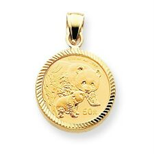 14k Yellow Gold Scalloped Bezel Pendant Only Mounting for 1/10 oz Panda Coin