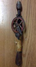 Hand Crank Drill Goodell Pratt Company Wood Handle Tool Antique w/Bit