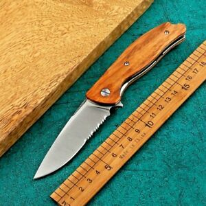 Drop Point Serrated Folding Knife Pocket Hunting Tactical D2 Blade Wood Handle S