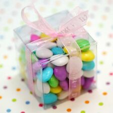 10 6cm square cube Bomboniere favor clear plastic PVC box wedding party gift