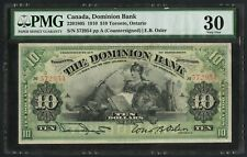 #220-18-05 $10 DOMINION OF CANADA TORONTO, ON PMG 30 VF RARE CV $3,000++ WLM4408