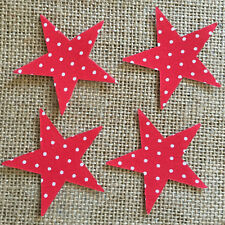 Pack of 4 Small Stars - Fabric Iron on - Red Polka Dot -Personalisation