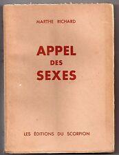 MARTHE RICHARD APPEL DES SEXES 1952 ETUDE SEXOLOGIE CURIOSA HISTOIRE DE L'AMOUR