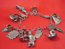 ANTIQUE SOLID STERLING CHARM BRACELET 15 CHARMS NATIVE AMERICAN  AND MORE...