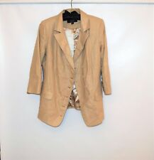NWOT DASH by KARDASHIAN Linen Blend  Beige Women 3/4 Sleeve Blazer Jacket Size 8