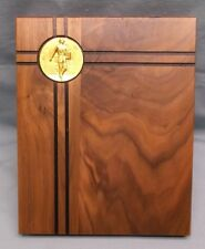solid walnut  wood plaque stamped metal relief male salesman trophy award 8x10