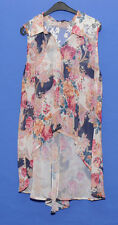 ~MULTICOLOUR FLOWER PATTERN MULLET STYLE SLEEVELESS BLOUSE~SIZE12~