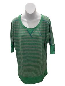 Under Armour Green Short Sleeve Stripe Semi Fitted Tunic Top Medium