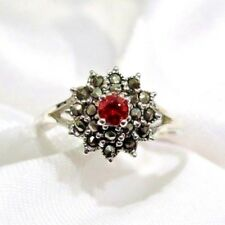925 STERLING SILVER  MARCASITE AND RUBY CZ CLUSTER RING SIZE 10
