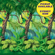 JUNGLE SAFARI ZOO PARTY SUPPLIES TREES BACKDROP WALL SCENE SETTER DECORATIONS