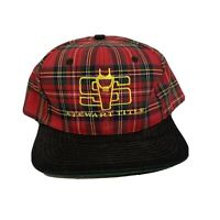 Vintage Stewart Title Red Plaid Snapback Hat Cap 90s Deadstock