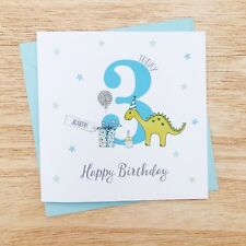 Personalised Handmade Dinosaur Birthday Card, Nephew, Son, Grandson, 3rd, 4th
