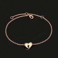 Hochwertige Armkette Herz Rotgold plattiert Armband rosé gold Heart Damen edel