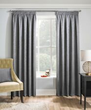 Matrix Grey Pencil Pleat Woven Textured Thermal Black out Curtains Mat02rma54 117 X 137