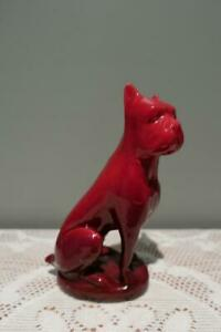 Vintage Zsolnay Boxer Dog Figurine - Red Eosin Glaze - Flambe - Collectable - Gc
