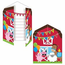 8 Farmhouse Fun Children's Birthday Party Invitations, Invites, Farm Animals