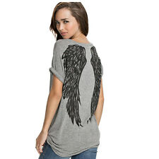 Unique Angel Wings Loose Medium Long Women T Shirts Female Tops Spring Summer