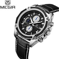 MEGIR Real Carbon Fiber White Face BLACK Leather Band Chronograph Wrist Watch