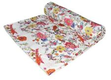 Handmade Floral print Kantha Embroidery Twin/Single Blanket Throw Bedspread