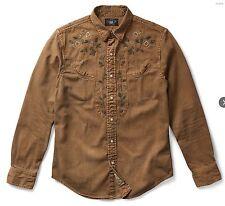 RRL Ralph Lauren Embroidered Japanese Washed Cotton Western Shirt-MEN- XS